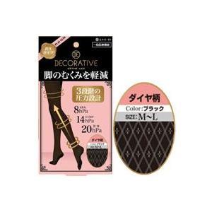 着圧タイツ ダイヤ柄 ブラック M-L SE85215|akibaoo