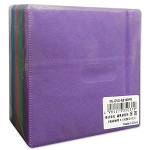ハイディスク 両面不織布2枚収納×100枚 カラーMIX  ML-DVD-AB100PM CD DVD スリム 収納ケース|akibaoo