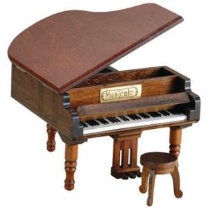 ミニアンティーク木製オルゴール・グランドピアノ(好きな曲が選べます)|akindo