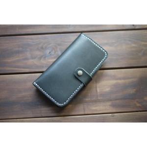 ハンドメイド レザー iphone ケース iphone6 iphone6S iphone7 対応 ヌメ革 牛革 革 レザーケース ブラック 黒 クロ スマホケース スマホカバー|akindoya