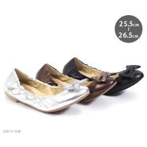 フラットシューズ 本革 リボン シャーリング u1231|akiriko