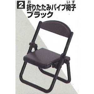 折りたたみパイプ椅子 ブラック 【 カプセル 折りたたみパイプ椅子と折りたたみ長机 】 エポック ガチャガチャ|akism