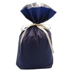 プレゼントを簡単にラッピングできます 【 ラッピング用梨地リボン付2層巾着袋(底マチ付) ネイビー 】 Lサイズ 濃紺|akism