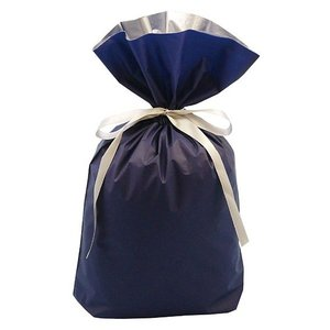 プレゼントを簡単にラッピングできます 【 ラッピング用梨地リボン付2層巾着袋(底マチ付) ネイビー 】 Mサイズ 濃紺|akism