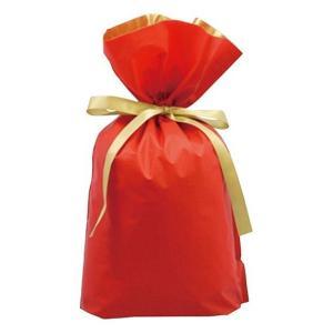 プレゼントを簡単にラッピングできます 【 ラッピング用梨地リボン付2層巾着袋(底マチ付) レッド 】 Mサイズ 赤|akism