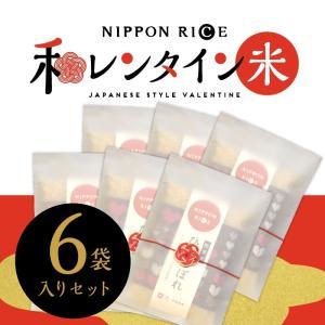 バレンタイン お米 ひとめぼれ 1合×6セット チョコ ではなく 米 おもしろ 和風 義理 友チョコ 配り用|akitagokoro