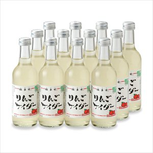 りんごサイダー 12本入 名水百選・ニテコ清水の天然水使用[秋田県酒類卸]|akitagokoro