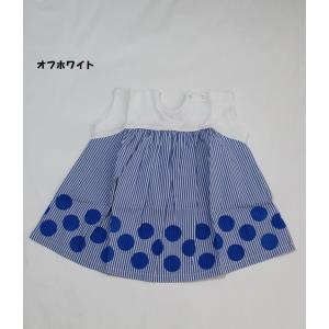 子供服 女の子 裾ドット ワンピース ブルーアズール BLUEU AZUR 80cm 90cm 110cm 130cm 50%OFF メール便OK RS20 akitaoutlet