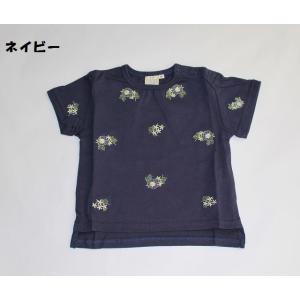 子供服 女の子 半袖 お花刺繍Tシャツ 80cm 90cm 100cm 110cm マーブルミックスマート 70%OFF メール便OK RS25|akitaoutlet