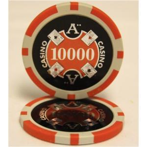 Quattro Assi(クアトロ・アッシー)ポーカーチップ(10000)橙 (25枚セット) | ...