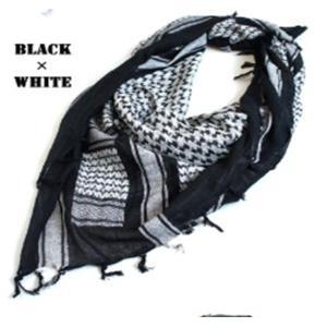 綿100%アラブスカーデッドストック ・ ブラック×ホワイト...