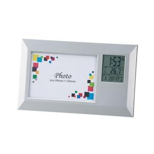 時計付き フォトフレーム/写真立て (ワイド) アラーム・カレンダー 写真サイズ:89×126mm 化粧箱入   フォトフレーム aks