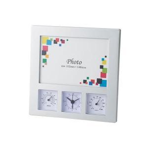 ワイドフォトクロックサーモ/フォトフレーム付き時計 (フレームサイズ:95×140mm) アラーム・温度計・湿度計   フォトフレーム aks