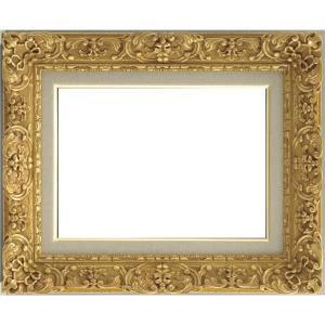 油絵額縁油彩額縁 (F0 ダークゴールド) 総柄彫り 黄袋 吊金具付き   画材・絵具