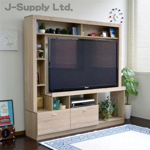 55インチ対応 テレビ台 ハイタイプ 壁面家具 リビング壁面収納 TV台 オーク 組立品|aks
