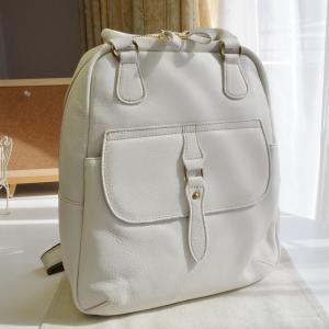 ジェノバ リュック ホワイト/カーキ 牛革使用 日本製 Genova 2681 レディースバッグ (鞄 かばん バッグ)|akt8