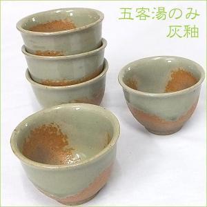 湯のみ 常滑焼 国産 湯呑【灰釉五客湯のみ】湯飲み 5個セット 五客湯のみ|akutsu-chaho