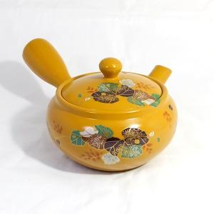 和食器 急須 国産 珍しい 派手 目を見張る 使いやすい 【平丸黄泥くずの花】 akutsu-chaho