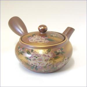万古焼 急須 茶器 食器 使いやすい 陶磁器 【平丸銀万古石楠花】 送料無料 akutsu-chaho