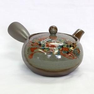和食器 新回転急須 回る 使いやすい 日本製 【平形万古丸吹扇牡丹】 akutsu-chaho