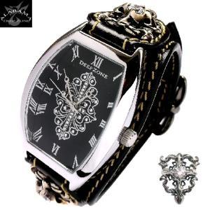 腕時計 メンズ 革 レザーベルト トノーフェイス クロス カジュアルウォッチ|alabama
