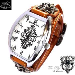 腕時計 メンズ 革 レザーベルト トノーフェイス クロスコンチョ カジュアルウォッチ|alabama