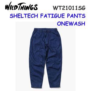 21ss ワイルドシングス  シェルテックデニムファティーグパンツ メンズ SHELTECH FATIGUE PANTS WT21011SG  カラー ONEWASH WILD THINGS 正規品|alajin