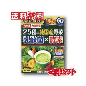 日本薬健 金の青汁25種の純国産野菜 乳酸菌×酵素 3.5g×60包 5個セット
