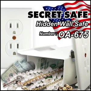 隠し金庫 壁コンセント型 『シークレットセーフ Hidden Wall Safe』 セーフティボックス (OA-675) 小型 家庭用 防犯