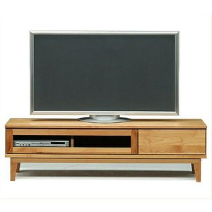 TVボード 153幅 モニカ 自然塗装 テレビ台 アルダー材 木脚 スライドフルオープンレール使用
