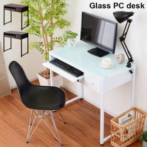 パソコンデスク 幅85cm 机 デスク ガラス おしゃれ オフィスデスク|alberoshop