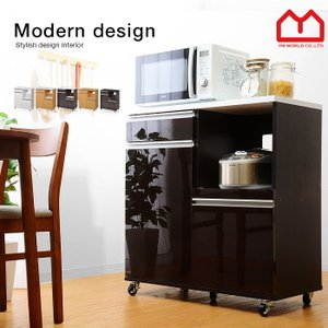 食器棚  レンジ台 キャスター付 食器棚 幅80 鏡面 安い|alberoshop