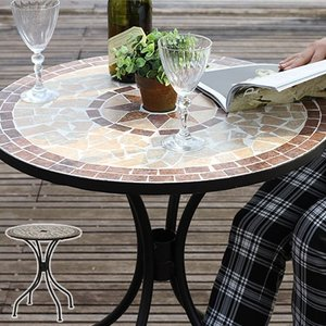 モザイクテーブル スチール ガーデンテーブル 直径61cm 丸天板|alberoshop