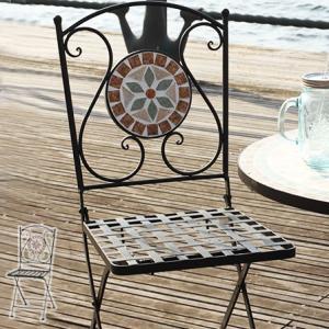 ガーデンチェア モザイク スチール チェア ガーデン 椅子 ガーデンファニチャー 安い|alberoshop