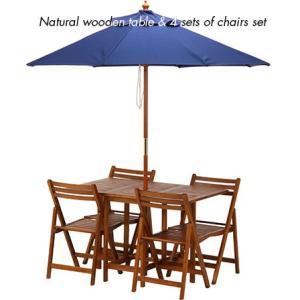 ガーデンテーブル&チェアー5点セット 天然木製 バタフライテーブル 安い|alberoshop