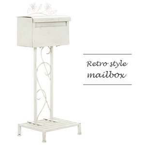 メールボックス スチール ホワイト ポスト 自立式 棚付き スタンド 安い|alberoshop