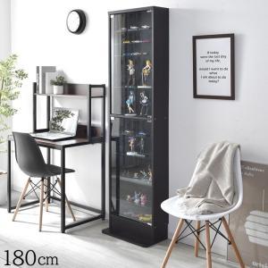 高さ180cm 10段タイプ スリム 薄型 ガラス棚 可動棚 ガラス コレクションケース|alberoshop