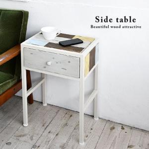 木製 サイドテーブル ハンドメイド風 幅38cm 引き出し付き 安い|alberoshop