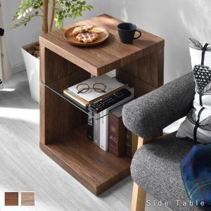 サイドテーブル 40cm×40cm ガラス棚板 強化ガラス 棚付き|alberoshop
