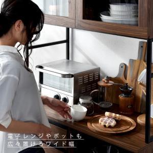 食器棚 おしゃれ 幅90cm レンジ台 キッチン収納 食器棚|alberoshop|11