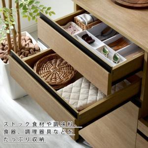 食器棚 おしゃれ 幅90cm レンジ台 キッチン収納 食器棚|alberoshop|15