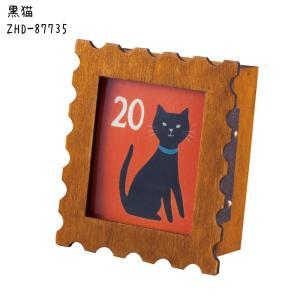 切手型フォトフレームボックス 黒猫 (ZHD-87735)