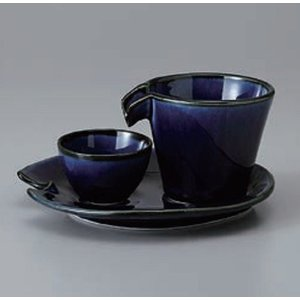 酒器セット 茄子紺ブルー しずる冷酒器セット 徳利 日本製 美濃焼