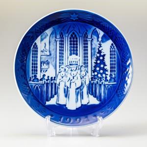 ロイヤルコペンハーゲン イヤープレート 皿立て付き クリスマスプレート 1991年 平成3年 190...