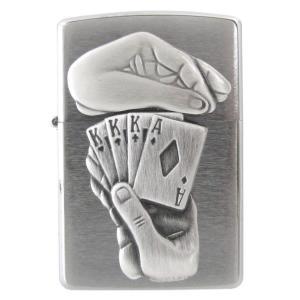 メール便可164円 ZIPPO ジッポー ライター BS FULL HOUSE EMB ポーカー シルバー 29396|alevelshop
