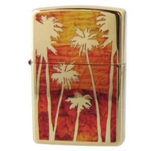 メール便可164円 ZIPPO ジッポー ライター FUZION PALM TREE SUNSET ヤシの木 ゴールド オレンジ 29420|alevelshop