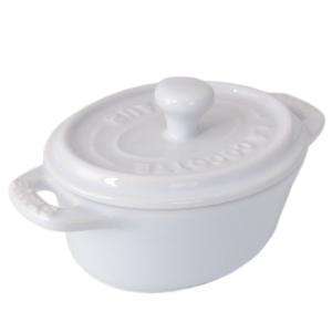 ストウブ 鍋 セラミック 11cm ミニココット オーバル ホワイト 40511 089 0|alevelshop