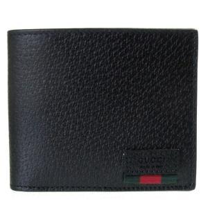 グッチ 二つ折り財布 メンズ 札入れ 小銭入れなし WEB カーフレザー ブラック 428749 DJ21T 1060|alevelshop