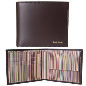 ポールスミス 財布 二つ折り財布 メンズ ブラウン マルチカラー AUXC 4833 W761A 28 Made in ITALY|alevelshop