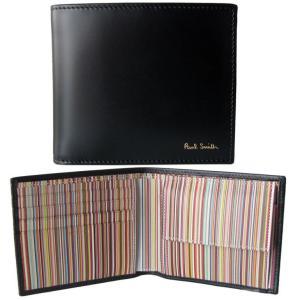 ポールスミス 財布 二つ折り財布 メンズ ブラック マルチカラー AUXC 4833 W761A 79 Made in ITALY|alevelshop